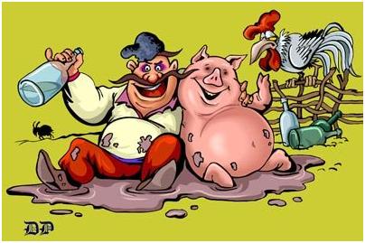 бабуин со свиньей