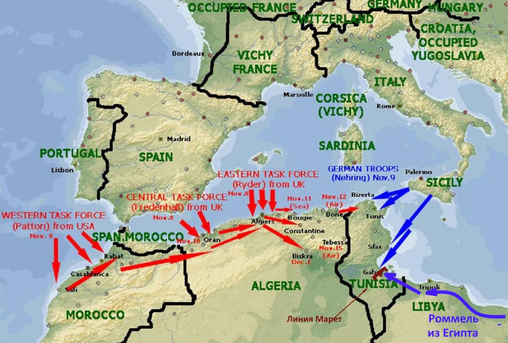 карта боевых действий в тунисе