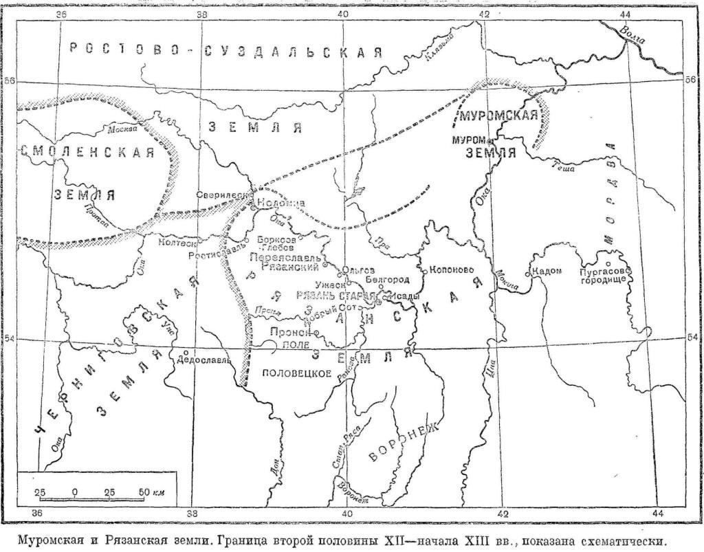 карта рязанской земли