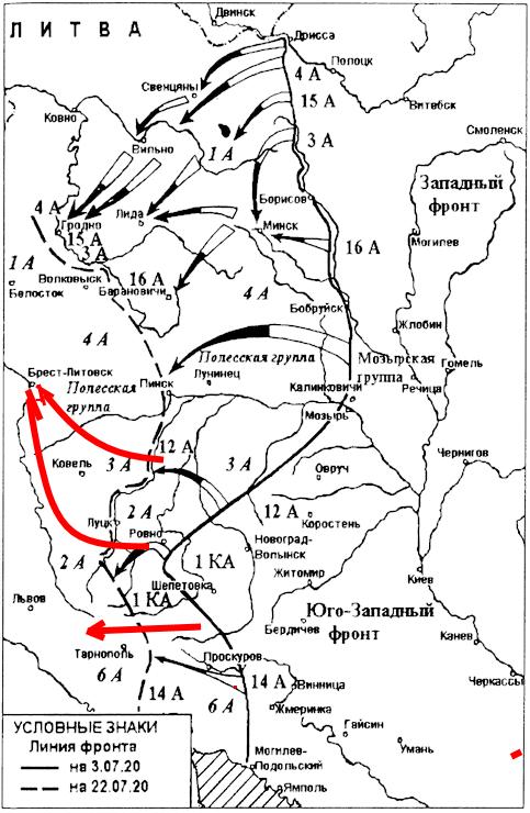 красным цветом выделено первоначальное направление юго-западного фронта