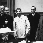 Stalin, von Ribbentrop, and Molotov at the Signing of the Soviet-German Non-Agression Pact